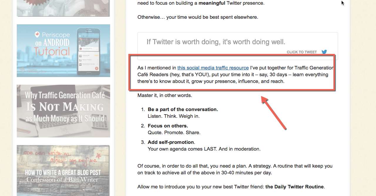 Use internal linking to other articles rather than go off-topic