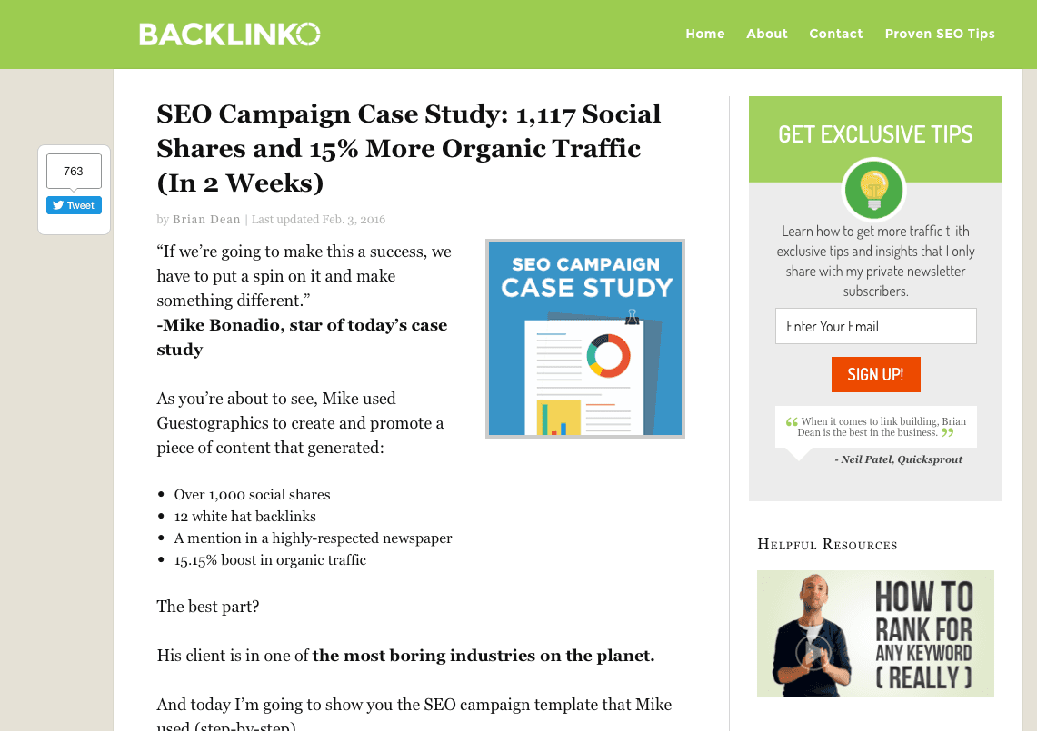 Case study screenshot from Backlinko