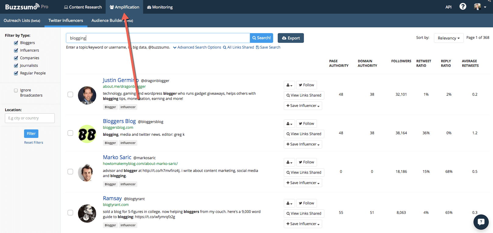 BuzzSumo is a great tool for finding influencers