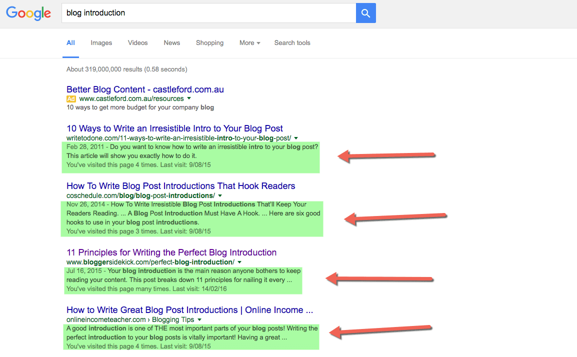Use good meta descriptions so your articles stick out in search results