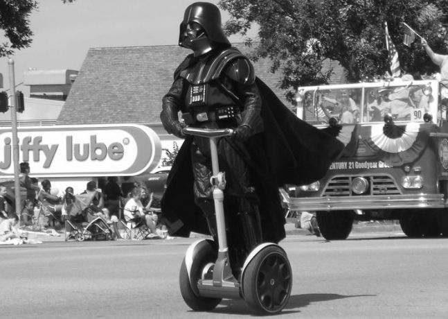 This photo of Darth Vader on a segway is supposed to represent a segue.