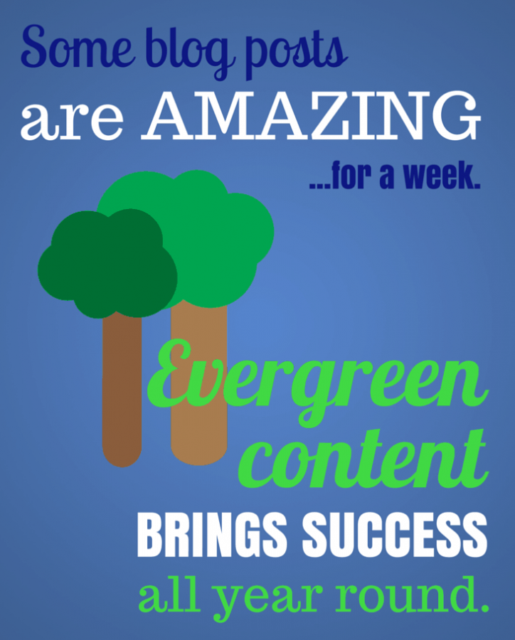 Evergreen Content promotional image created on Canva